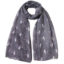 More details for boston terrier ladies scarf new to range lovely gift fast dispatch grey & taupe