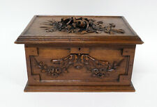 Antique Black Forest Carved Wood Jewel Box with Flowers