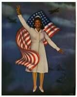 Vintage WWII African American Black Victory Nurse Pin-Up Print Photomontage Fine