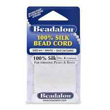 Beadalon Silk  Size #4 Color White 2 Meter Card with Needle