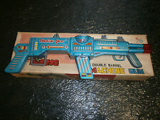 TIN TOYS MACHINE GUN DOUBLE BARREL MADE IN CHINA BATTERY OPERATED ME716 WITH BOX