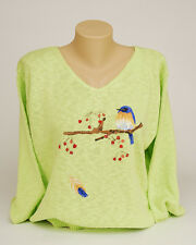 Direct from Artist Hand Painted Spring Green BLUEBIRD Cotton Knit Sweater.NWT