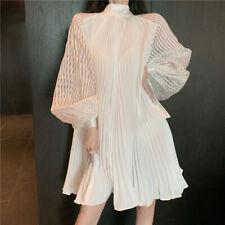 Princess Dresses White High Collar Long Puff Sleeve Midi Pleated Loose Fairy