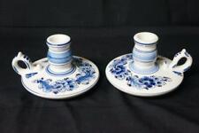 2 DELFT BLUE ART POTTERY, FINGER CANDLE HOLDER CANDLESTICKS