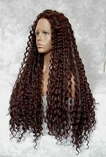 """5"""" Lace Front XLong Curly Dark Brown """"FUTURA"""" Heat Ok Synthetic Wig - WM17"""