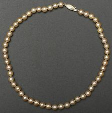 "Japanese Salt Water Cultured Creamy-Gold Pearl Necklace, 18"" Single Strand"