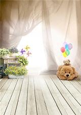 Fantasy Background Cute Bear Wooden Floor Baby Photography Backdrops Vinyl 5x7FT