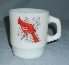 Vintage Fire King Red Cardinal & Chickadee Bird Milk Glass Stacking Coffee Cup