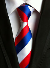 New Classic Striped Red White Blue JACQUARD WOVEN 100% Silk Men's Tie Necktie