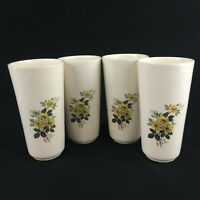 Set of 4 VTG Tumblers by Kaolena China Pottery MCM Yellow Rose California USA