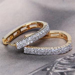 Women White Zircon Hand-trimmed Ear Stud  Earrings Fashion Wedding Jewelry Gift