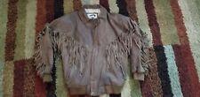 Women's  Fox Run Brown leather fringed jacket
