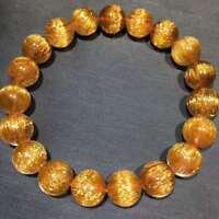 11mm Natural Gold Quartz Golden Hair Rutilated Titanium Crystal Bracelet