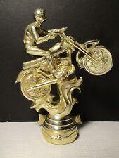 VTG Lg 70's Gold Tone Motorcycle Motocross Dirt Bike Topper/Hood Orament/ Plaque