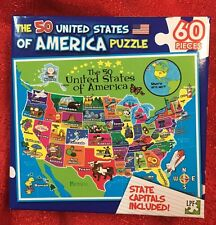60 PIECE PUZZLE 50 UNITED STATES OF AMERICA USA STATE CAPITALS INCLUDED -BLUE