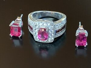 Bixbite Topaz & Garnet Ring Earrings Sterling Silver set Sz.4 3/4 Red Beryl New