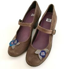Camper Womens Brown Floral Suede Leather Rubber Mary Jane Shoes Pumps Size 8.5 M