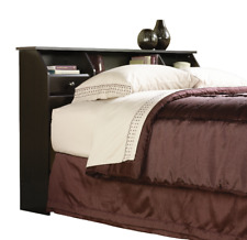 Full/Queen Bookcase Headboard with Storage Shelves and Cord Access Dark Brown