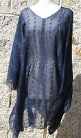 Plus size poncho style top/tunic,blue,black/green,blue/white,size 1X-2X,handmade