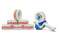 """Fragile Tape 2"""" x 110 Yards 2 Mil Printed Packing Tapes 6 Rolls + 2"""" Dispenser"""