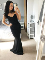 Quiz Sequin Lace Black Maxi Evening Dress Bridesmaid Prom Ballgown Womens Size