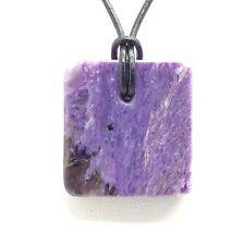 Charoite Square Pendant Simple Purple Gem Stone Necklace Siberia Russia #2