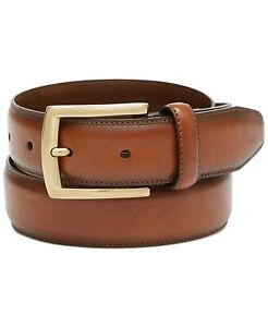 $199 Club Room Mens Brown Faux Leather Gold Harness Buckle Dress Belt US Size 36