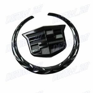 X1 Black Cadillac Logo Car Auto Rear Trunk Lid Emblem for Cadillac SRX XTS CTS
