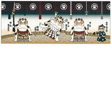 Japanese traditional towel TENUGUI Maneki neko Happy Cat SUMO