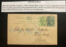 1905 Bloemfontein Orange River Colony Station Postcard Cover To Hong Kong China