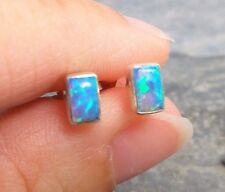 925 Silver FIRE OPAL Stud Earrings E672~Silverwave*uk Jewellery