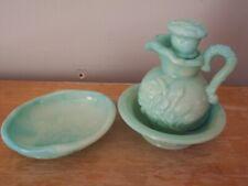 Vintage Avon Victoriana Teal Green Pitcher, Bowl & Soap Dish
