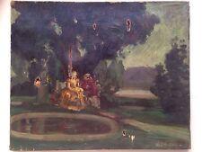 Tableau ancien XIXeme WEINKANN Scène galante Parc Romantique Huile Toile Signée
