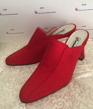 Costablanca Wom 8M Red Textured Textile Mules Pumps Stilettos Spain Leather Sole