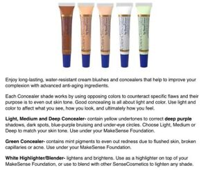 Color Concealer SeneGence Waterproof *YOU PICK  green Light Med White Nat $25