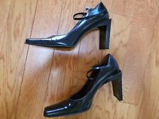 NINE WEST SEX AND THE CITY STYLE Y2K BLOCK HEEL BLACK MARY JANE PUMPS SIZE 6