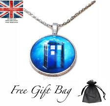 Blue Who Pendant Necklace Dr UK Tardis Style Gift Present Fan Free Gift Bag