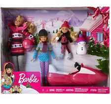 NEW  Barbie Sisters Snow Fun Doll Playset Snowmobile Gift Set NEW snowman