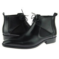 Carrucci Lace-up Chelsea / Chukka, Men's Leather Ankle Boots, Black