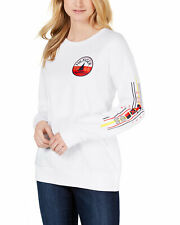 Tommy Hilfiger Womens Logo Regatta French Terrycloth Sweatshirt Large White