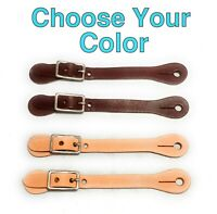 """🌟(1 Pair) Tan or Brown Leather Russet Spur Straps, Youth, Child Size 6"""" to 8"""""""