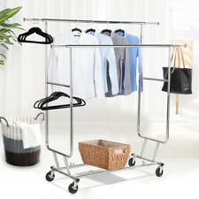 Commercial Grade Cloth Hanger Collapsible Rolling Double Rail Garment Rack
