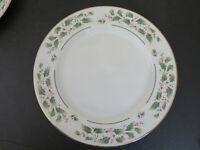 Lot of 2 Potter and Smith Holiday Dinner Plates  Holly Berries Leaves Gold Trim