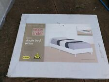 Brand New White Single Wooden Bed Frame Base Furniture with single mattress