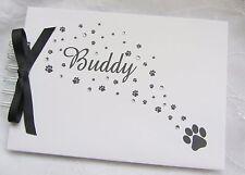 PERSONALISED PET DOG/CAT - ANIMAL -  PHOTO ALBUM/  MEMORY SCRAPBOOK - PAW PRINT