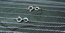 Rhodium Plated Sterling Silver Trace Chain 1.3mm 18 inch UK Made White Gold Look