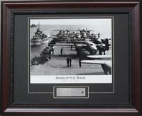 Doolittle Raid B-25 Mitchell WW2 Framed Matted Print + Airplane Metal Skin Coa