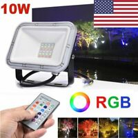 10W RGB LED Outdoor Color Changing Flood Spot light Garden Lamp Remote IP65 US