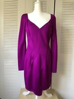 Givenchy Long-Sleeve Cady Sweetheart Dress Dark Purple NWT $3890 Size 12 US