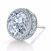 8mm 4 Carat Total 925 Sterling Silver Cubic Zirconia Stud Earrings with accents